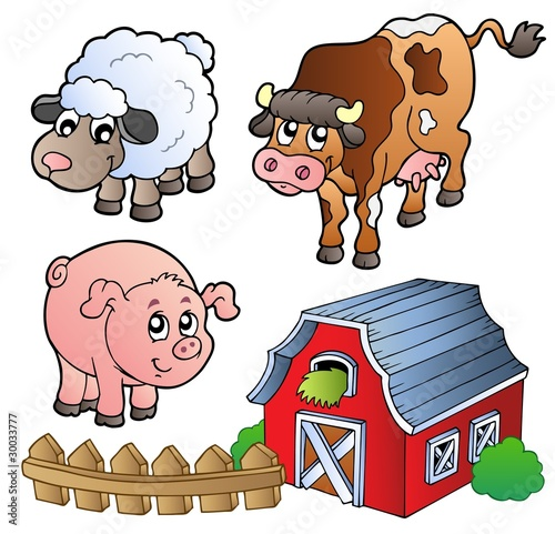 Photo sur Toile Ferme Collection of various farm animals