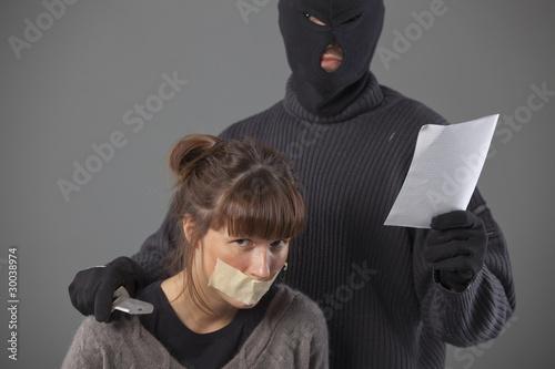 hijacker with hostage Tablou Canvas
