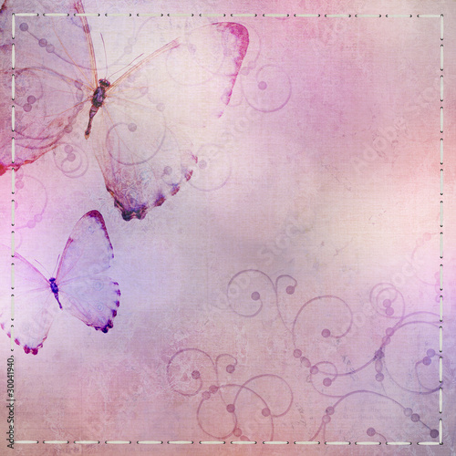 Papiers peints Papillons dans Grunge pastel blue and purple background with butterfly