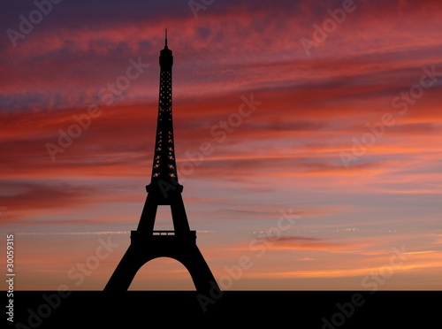Eiffel tower at sunset with beautiful sky illustration