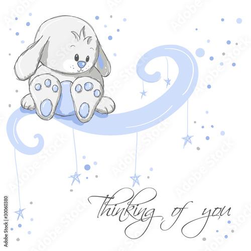 Foto-Lamellen (Lamellen ohne Schiene) - Greeting card - Blue rabbit thinking of you (von adrijanavs)