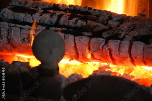 Photo feu de cheminee