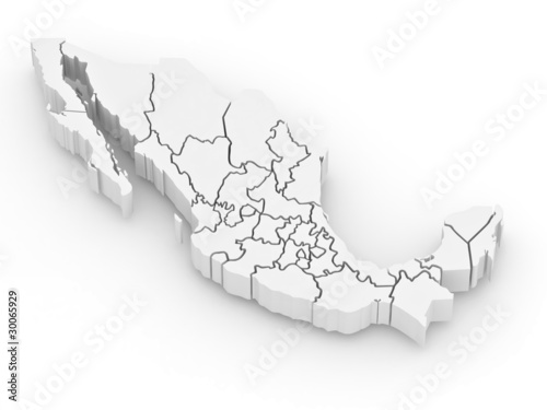Three-dimensional map of Mexico Canvas Print