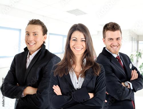 Fotografia  Three businessmen in the office: teamwork