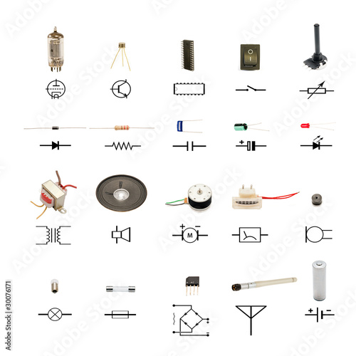 Electronic Components With Circuit Schematic Symbols On White Buy