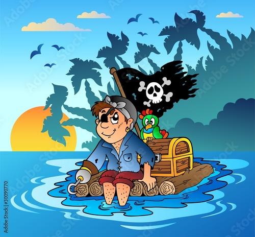La pose en embrasure Pirates Pirate sailing on wooden raft