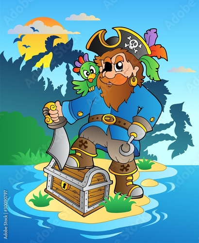 Foto op Canvas Piraten Pirate standing on chest on island