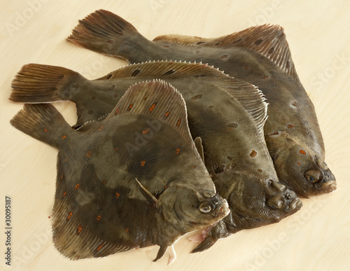 Fotomural Three European plaice (Peuronected platessa) on a wooden board