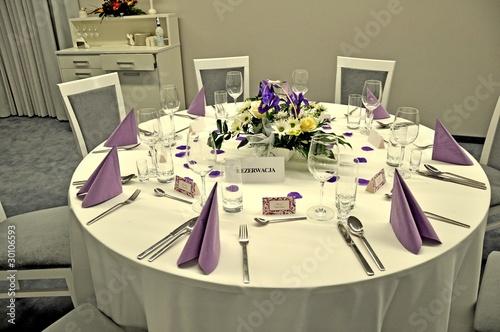 Fototapeta An elaborate table setting at a reception obraz
