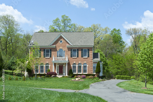 Brick Single Family House Home Suburban MD USA Canvas Print