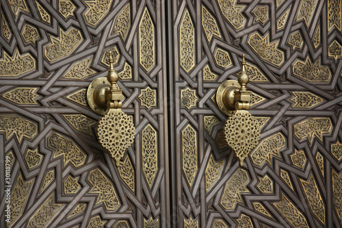 Poster Morocco La porta del palazzo reale di Casablanca - Marocco