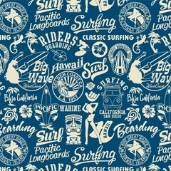 Fototapeta surf elements seamless pattern