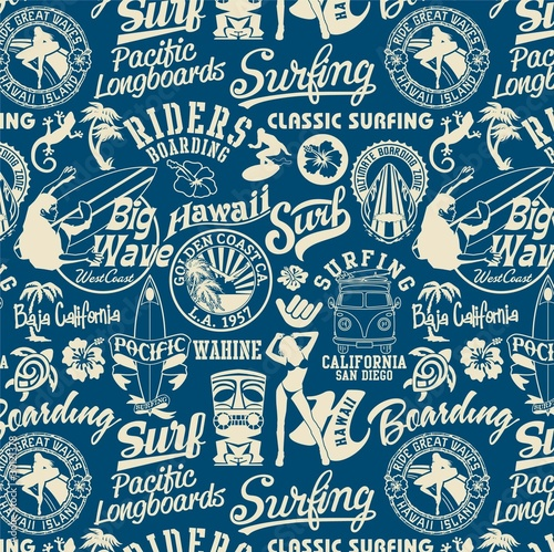 Photo  surf elements seamless pattern