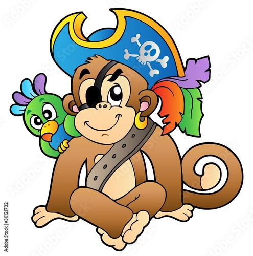 Photo Stands Pirates Pirate monkey with parrot
