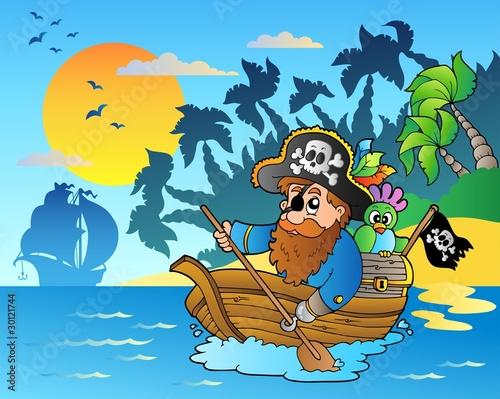 La pose en embrasure Pirates Pirate paddling in boat near island
