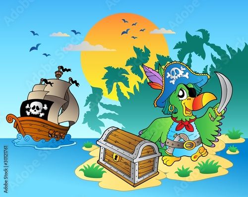 Foto op Plexiglas Piraten Pirate parrot and chest on island