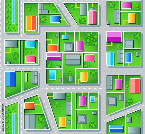 Poster de jardin Route Seamless city suburb plan