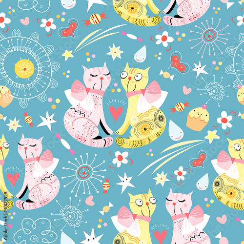 Wall Murals Cats seamless pattern with lovers cats