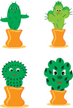 Set Of Cheerful Cactuses