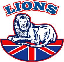 Lion Sitting GB British Union Jack Flag