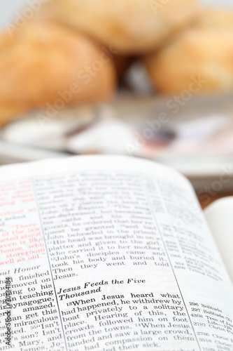 Bible with text in Matthew 14 - Feeding the five thousand Canvas Print