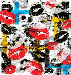 Panel Szklany Podświetlane Popart Lips background