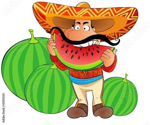 Foto-Stoff - funny mexican eats  watermelon (von Regisser.com)