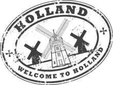 Stamp With Windmill Silhouette And The Name Of Holland