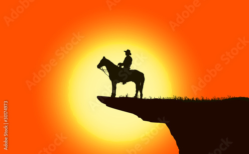 Foto op Aluminium Texas Cowboy over mountain at sunset