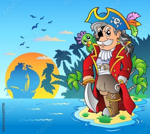 Foto op Canvas Piraten Noble corsair standing on island