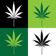 Panel Szklany four cannabis leaf illustration
