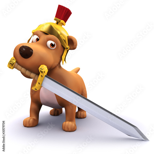 Photo  3d Dog thinks he's a Centurion