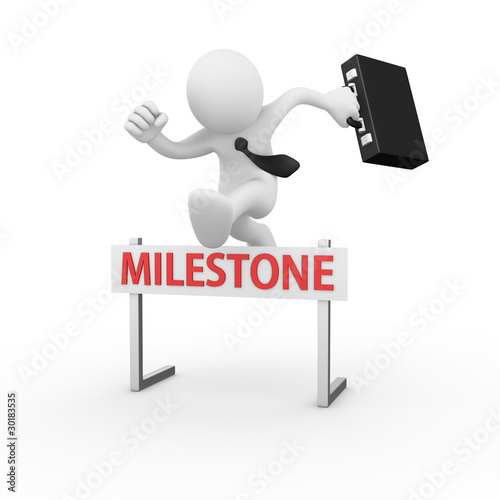 Businessman jumping over a hurdle obstacle title milestone Plakat