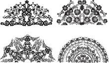 Four Black Decorated Half Circ...