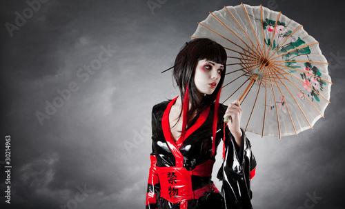 Cuadros en Lienzo Modern style geisha in fetish kimono