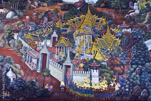 Carta da parati arts Thai painting ,