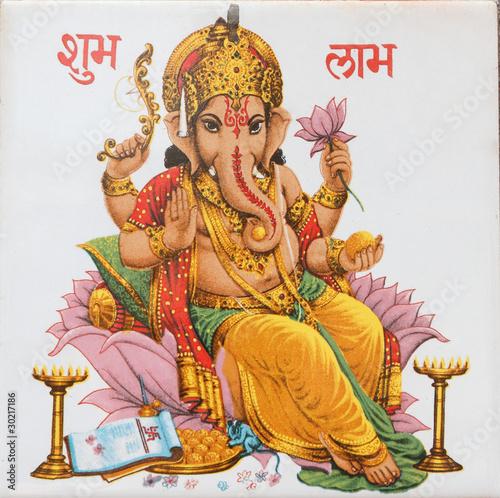 Photo  Ganesha sitting on lotus flower, India