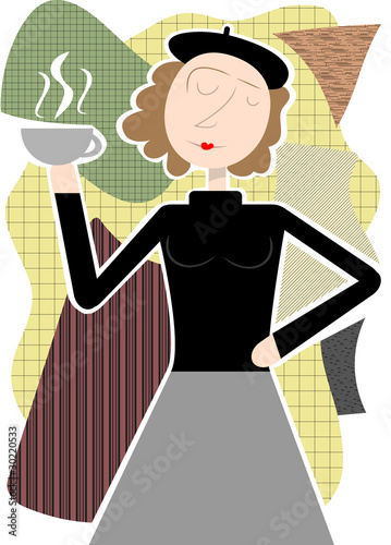 Photo Beatnik woman holding coffee cup abstract shapes