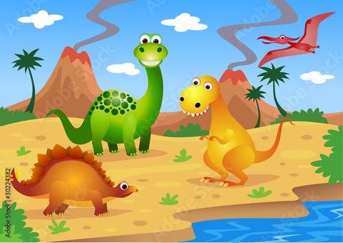 Canvas Prints River, lake Dinosaurs