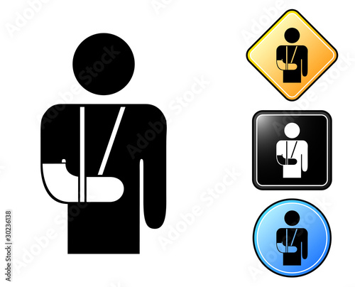 Fotografie, Obraz Injured man pictogram and signs