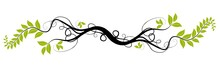 Vector Floral Design - Ai Green Tree Branch Over White