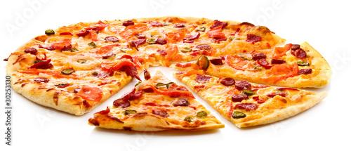 Poster de jardin Pizzeria Tasty Italian pizza over white