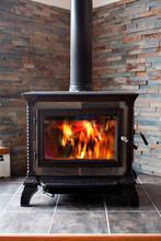 Burning Cast Iron Wood Stove H...