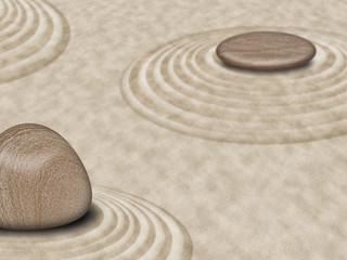 Fototapeta na wymiar Zen Stones on Sand Garden Circles 2