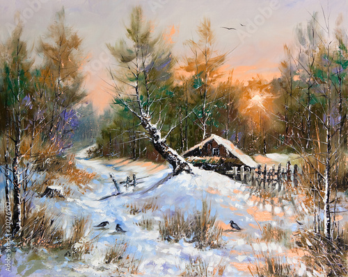 wiejski-zimowy-krajobraz-akwarela