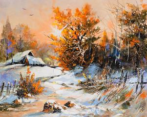 Fototapeta Vintage Rural winter landscape