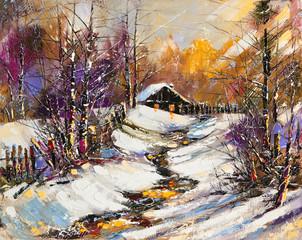 Panel Szklany Wiejski Rural winter landscape