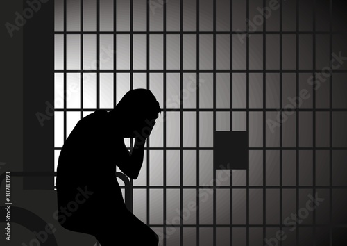 Photo  Vector illustration of a man in jail