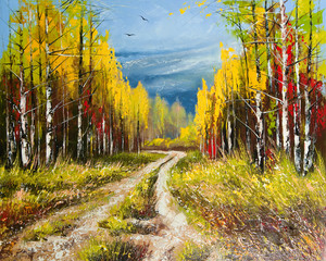 Fototapeta 3D Oil Painting - gold autumn