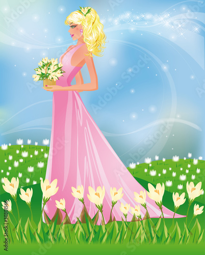 Poster Castle Spring card with girl and snowdrop, vector illustration